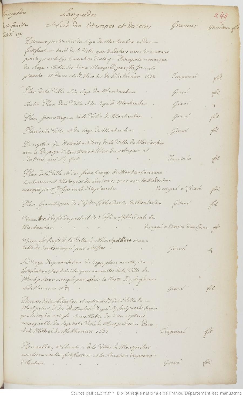 Inventaire Détaillé De Litem 1215 Portefeuille Gaignières 191
